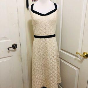 Loft cream dress with black straps. Wrinkle free